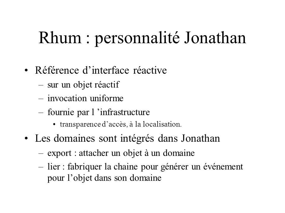 Rhum : personnalité Jonathan Référence dinterface réactive –sur un objet réactif –invocation uniforme –fournie par l infrastructure transparence daccès, à la localisation.