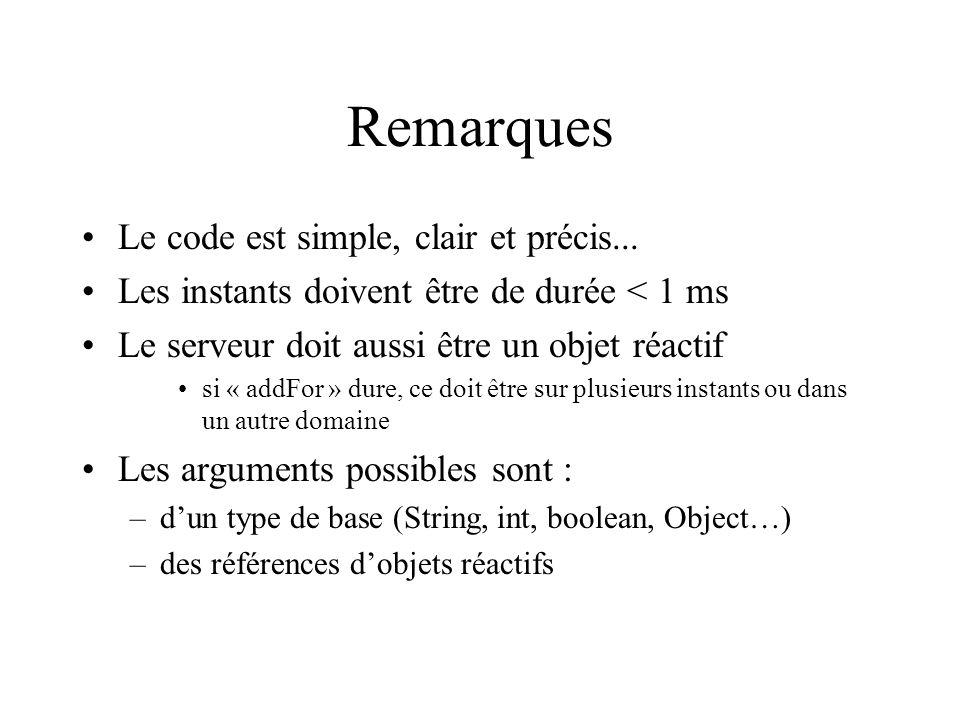 Remarques Le code est simple, clair et précis...