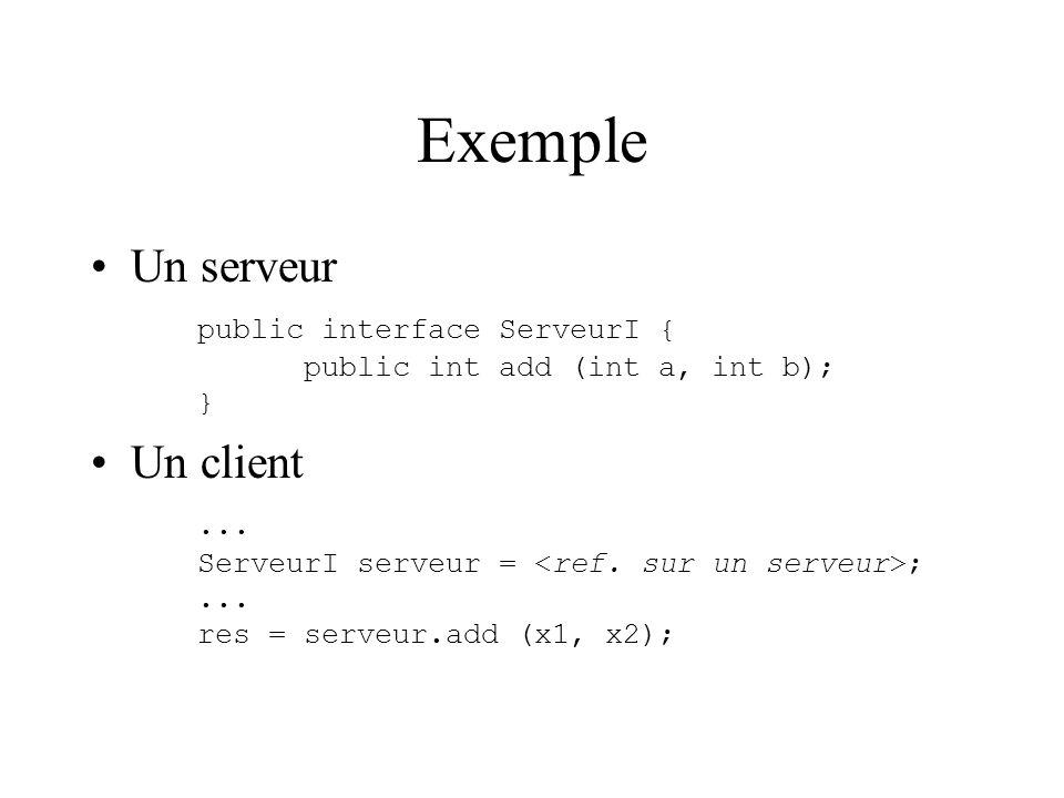 Exemple Un serveur public interface ServeurI { public int add (int a, int b); } Un client...