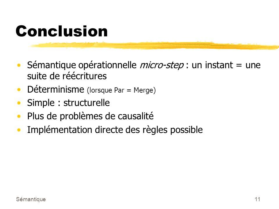 Sémantique11 Conclusion Sémantique opérationnelle micro-step : un instant = une suite de réécritures Déterminisme (lorsque Par = Merge) Simple : structurelle Plus de problèmes de causalité Implémentation directe des règles possible