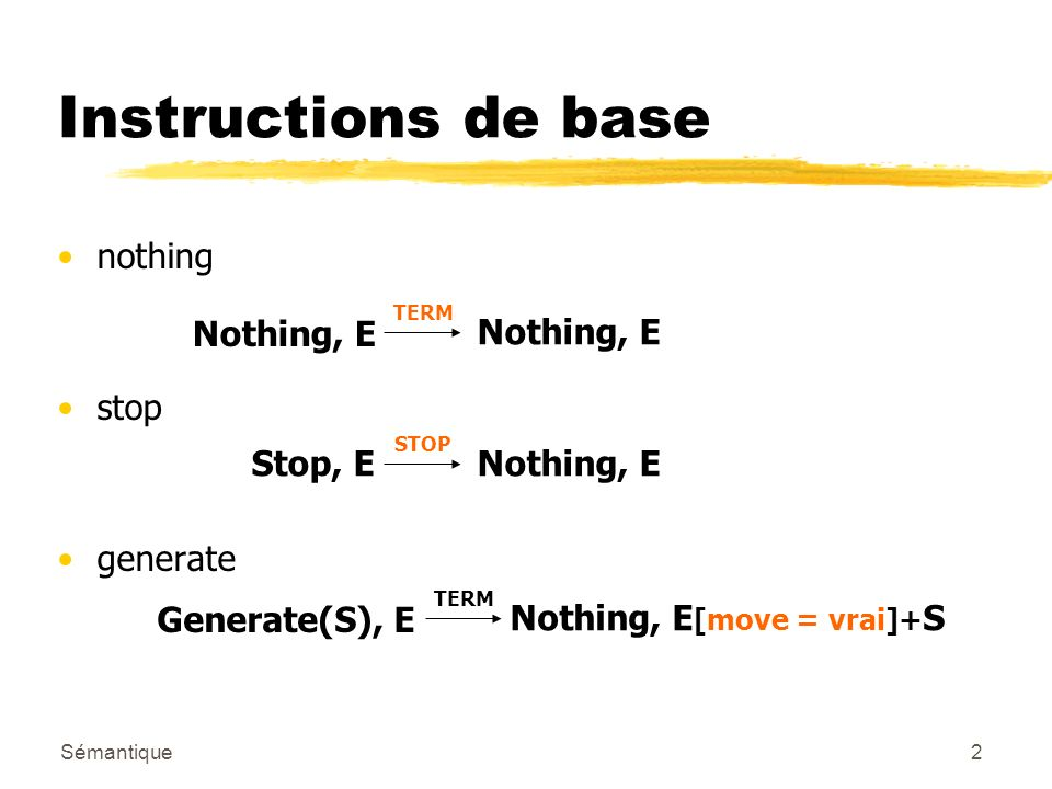 Sémantique2 Instructions de base nothing stop generate Nothing, E TERM Nothing, E Stop, E STOP Nothing, E Generate(S), E TERM Nothing, E [move = vrai]
