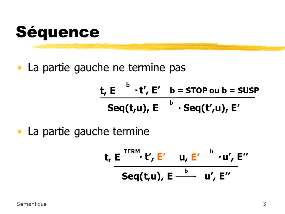 Sémantique3 Séquence La partie gauche ne termine pas La partie gauche termine Seq(t,u), E b u, E t, E TERM t, E u, E b Seq(t,u), E b t, E b b = STOP ou b = SUSP