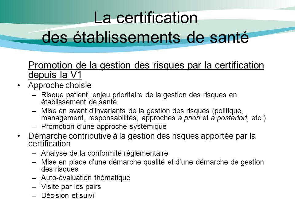 La certification des établissements de santé Promotion de la gestion des risques par la certification depuis la V1 Approche choisie –Risque patient, e