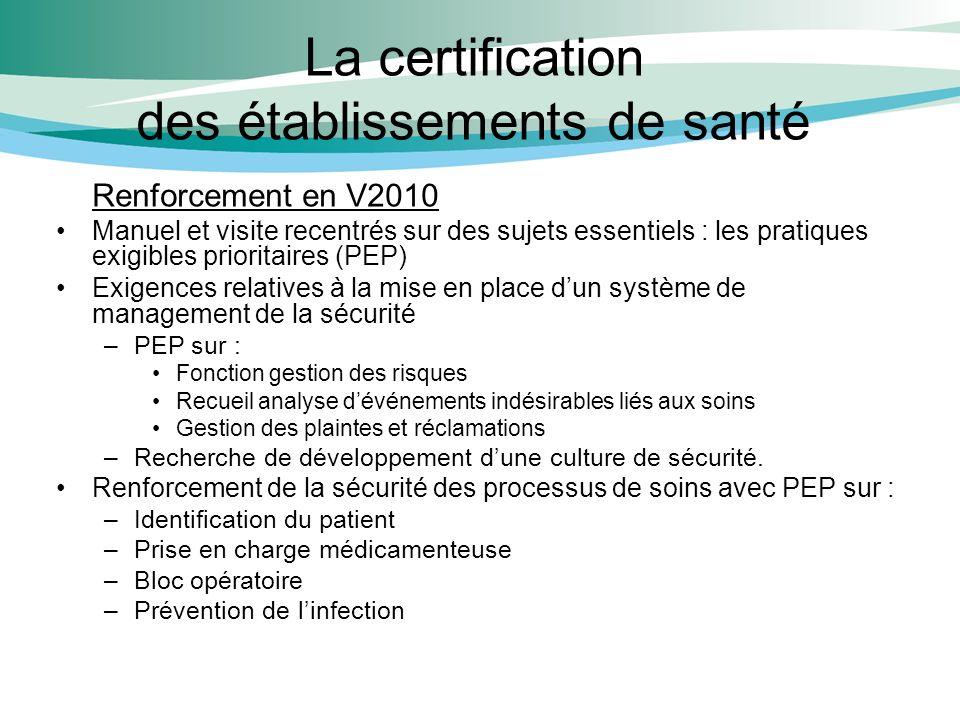 La certification des établissements de santé Renforcement en V2010 Manuel et visite recentrés sur des sujets essentiels : les pratiques exigibles prio
