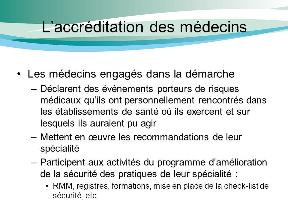 Laccréditation des médecins Les médecins engagés dans la démarche –Déclarent des événements porteurs de risques médicaux quils ont personnellement ren