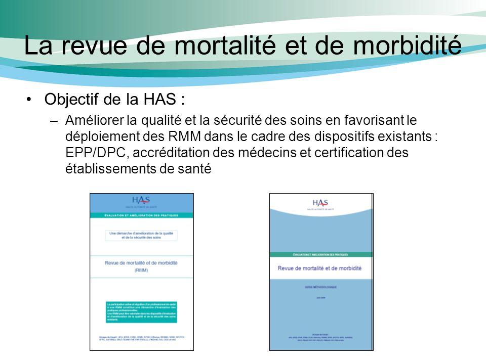La revue de mortalité et de morbidité Objectif de la HAS : –Améliorer la qualité et la sécurité des soins en favorisant le déploiement des RMM dans le