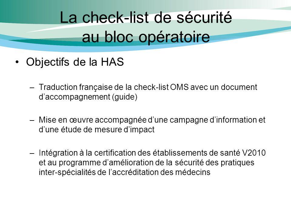 La check-list de sécurité au bloc opératoire Objectifs de la HAS –Traduction française de la check-list OMS avec un document daccompagnement (guide) –