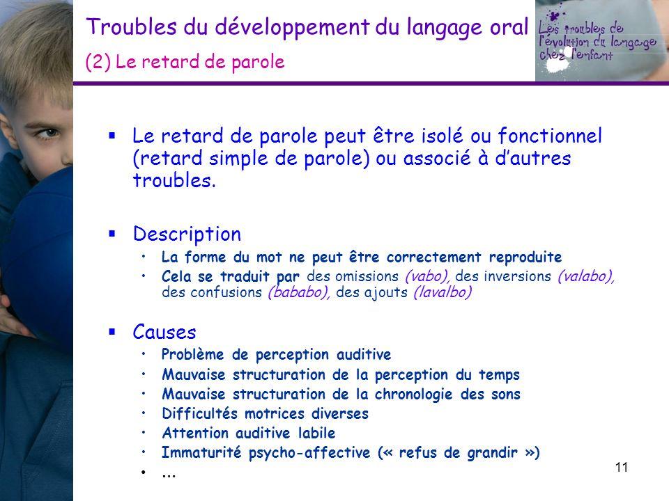 Troubles du développement du langage oral (2) Le retard de parole Le retard de parole peut être isolé ou fonctionnel (retard simple de parole) ou asso