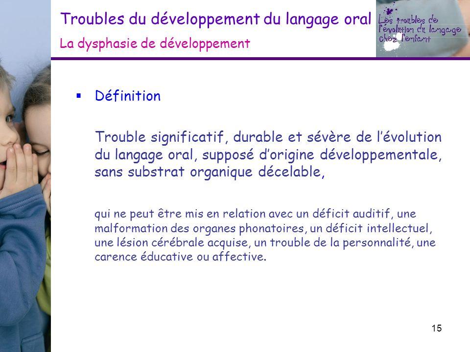 Troubles du développement du langage oral La dysphasie de développement Définition Trouble significatif, durable et sévère de lévolution du langage or