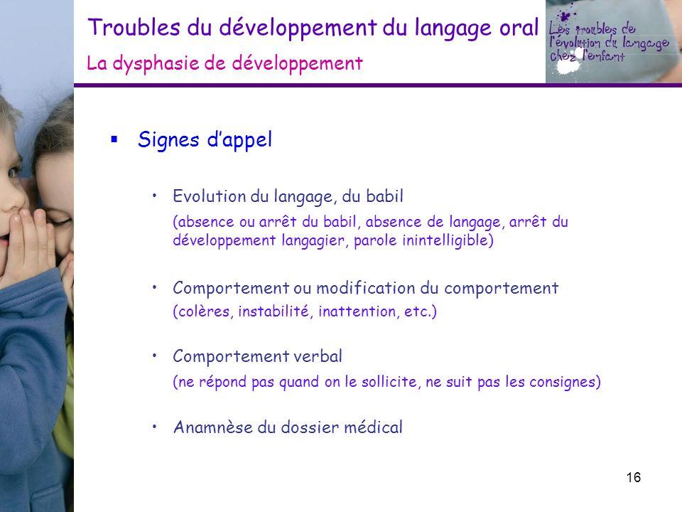 Troubles du développement du langage oral La dysphasie de développement Signes dappel Evolution du langage, du babil (absence ou arrêt du babil, absen