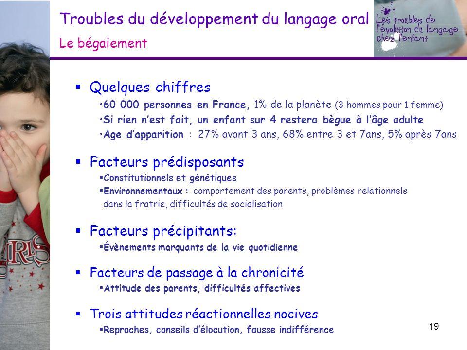 Troubles du développement du langage oral Le bégaiement Quelques chiffres 60 000 personnes en France, 1% de la planète (3 hommes pour 1 femme) Si rien