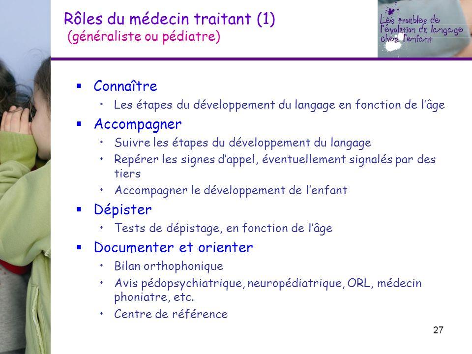 Rôles du médecin traitant (1) (généraliste ou pédiatre) Connaître Les étapes du développement du langage en fonction de lâge Accompagner Suivre les ét