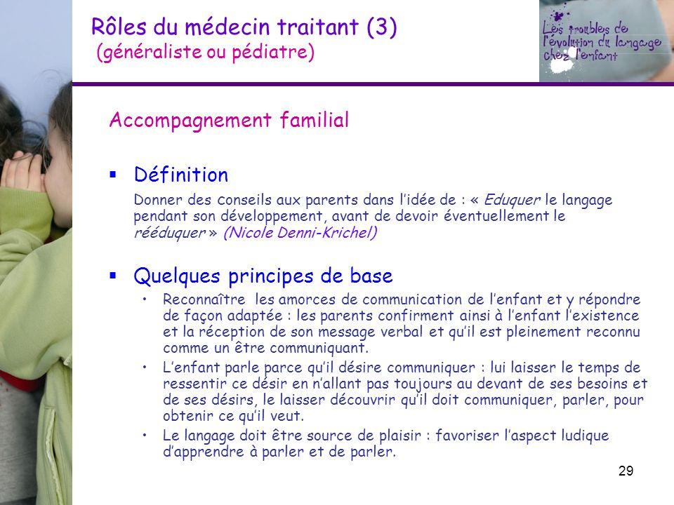 Rôles du médecin traitant (3) (généraliste ou pédiatre) Accompagnement familial Définition Donner des c onseils aux parents dans lidée de : « Eduquer