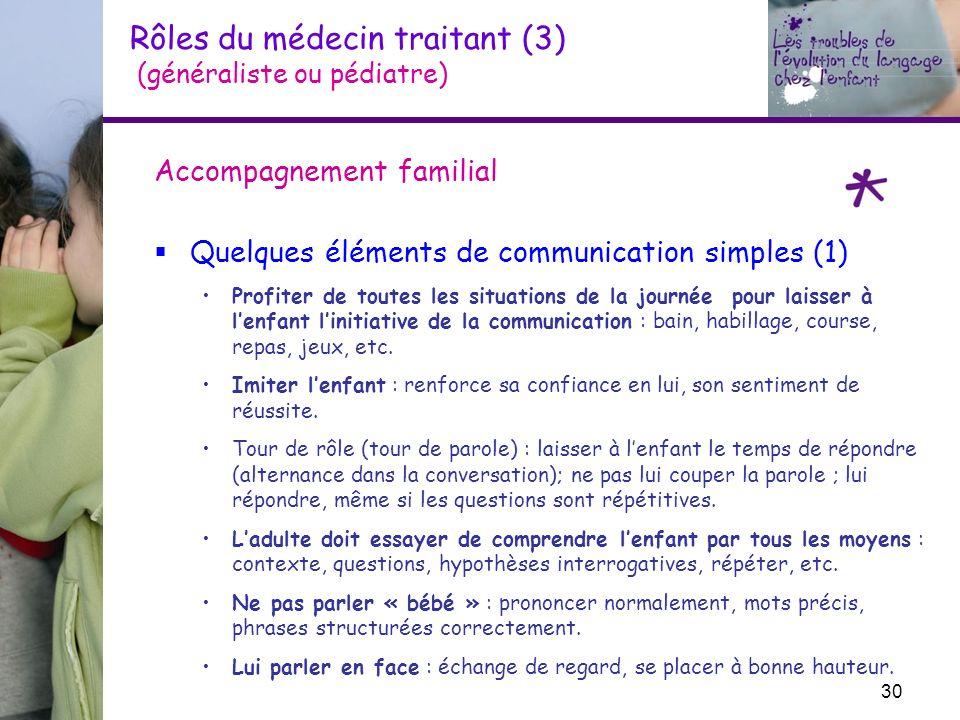 Rôles du médecin traitant (3) (généraliste ou pédiatre) Accompagnement familial Quelques éléments de communication simples (1) Profiter de toutes les