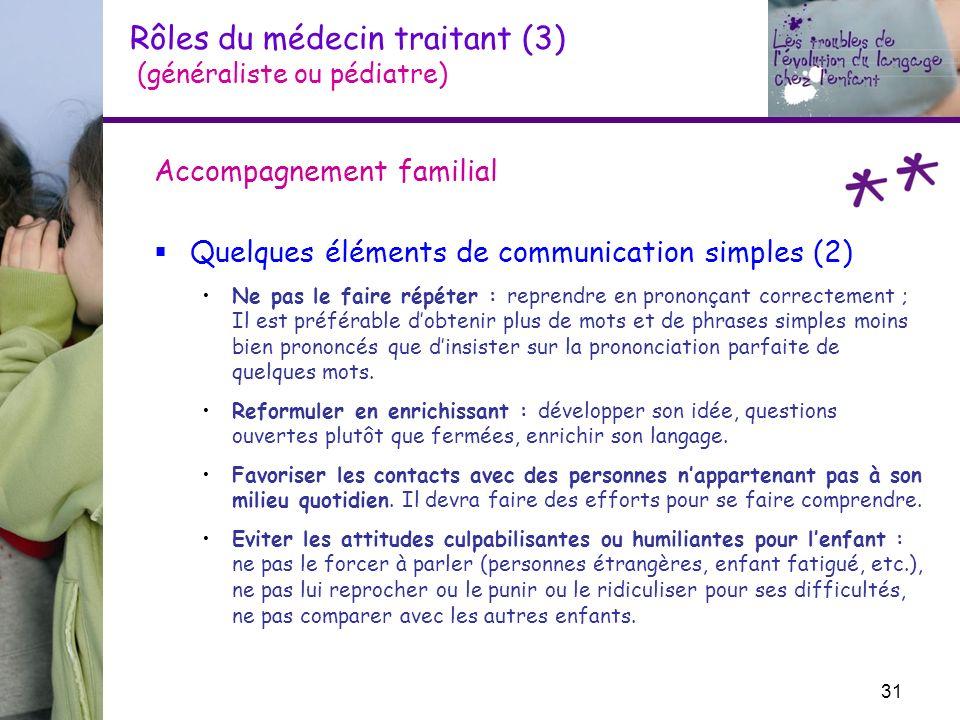 Rôles du médecin traitant (3) (généraliste ou pédiatre) Accompagnement familial Quelques éléments de communication simples (2) Ne pas le faire répéter