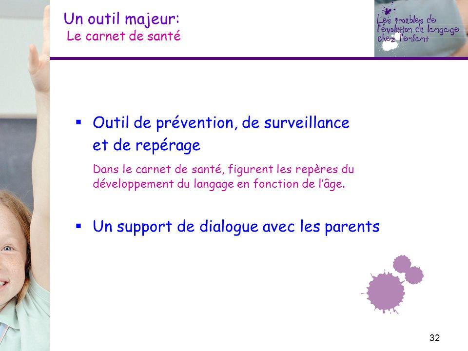 Un outil majeur: Le carnet de santé Outil de prévention, de surveillance et de repérage Dans le carnet de santé, figurent les repères du développement