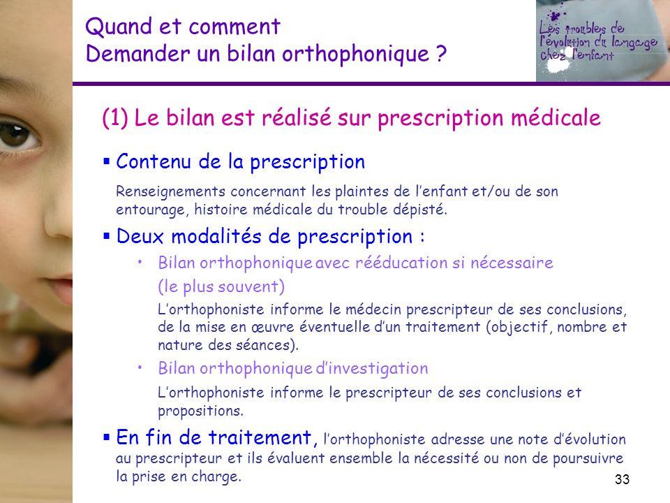 Quand et comment Demander un bilan orthophonique ? (1) Le bilan est réalisé sur prescription médicale Contenu de la prescription Renseignements concer