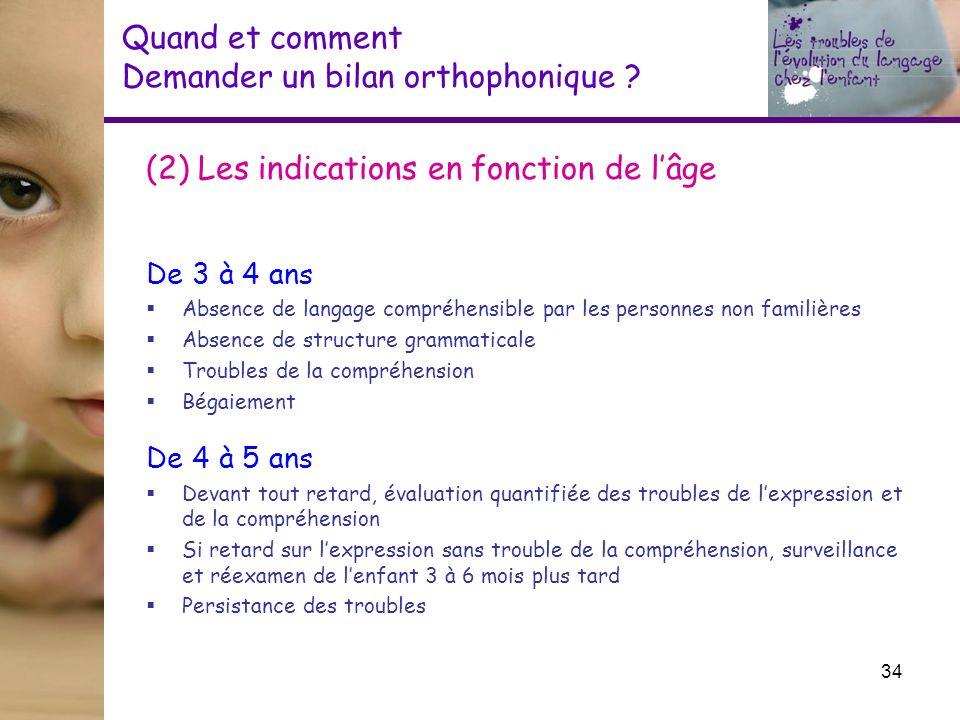 (2) Les indications en fonction de lâge De 3 à 4 ans Absence de langage compréhensible par les personnes non familières Absence de structure grammatic