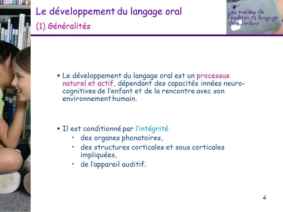 Le développement du langage oral (1) Généralités Le développement du langage oral est un processus naturel et actif, dépendant des capacités innées ne