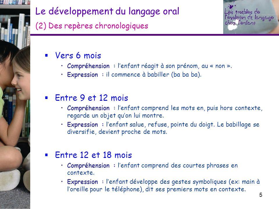 Le développement du langage oral (2) Des repères chronologiques Vers 6 mois Compréhension : lenfant réagit à son prénom, au « non ». Expression : il c