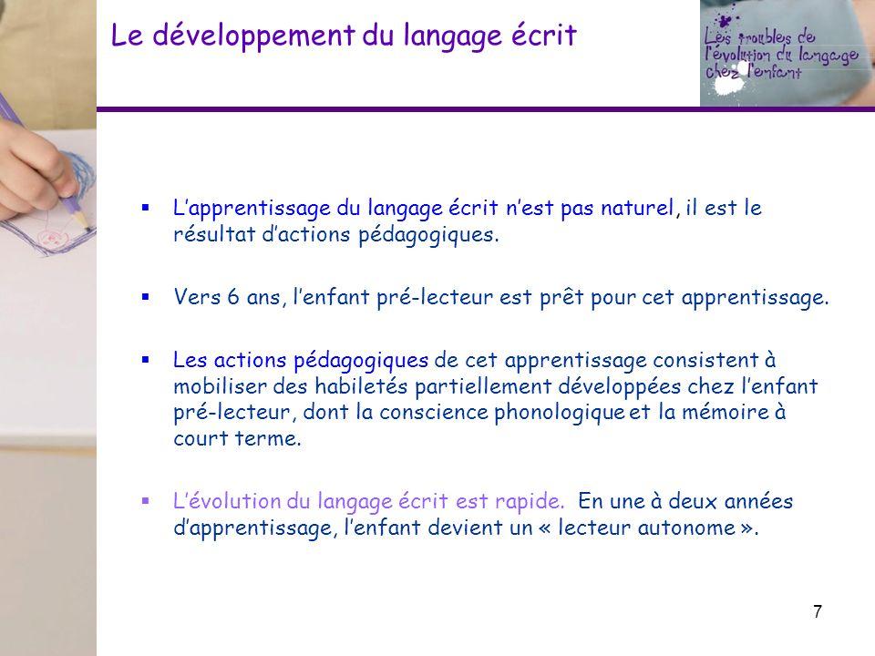 Le développement du langage écrit Lapprentissage du langage écrit nest pas naturel, il est le résultat dactions pédagogiques. Vers 6 ans, lenfant pré-