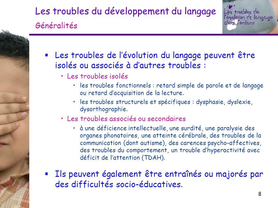 Les troubles du développement du langage Généralités Les troubles de lévolution du langage peuvent être isolés ou associés à dautres troubles : Les tr