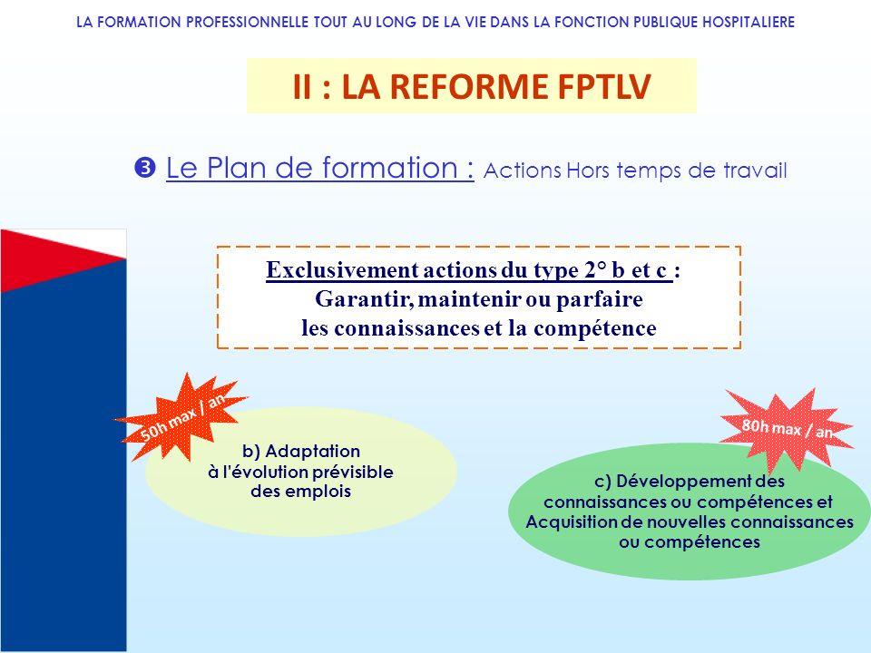 LA FORMATION PROFESSIONNELLE TOUT AU LONG DE LA VIE DANS LA FONCTION PUBLIQUE HOSPITALIERE II : LA REFORME FPTLV Le Plan de formation : Actions Hors t