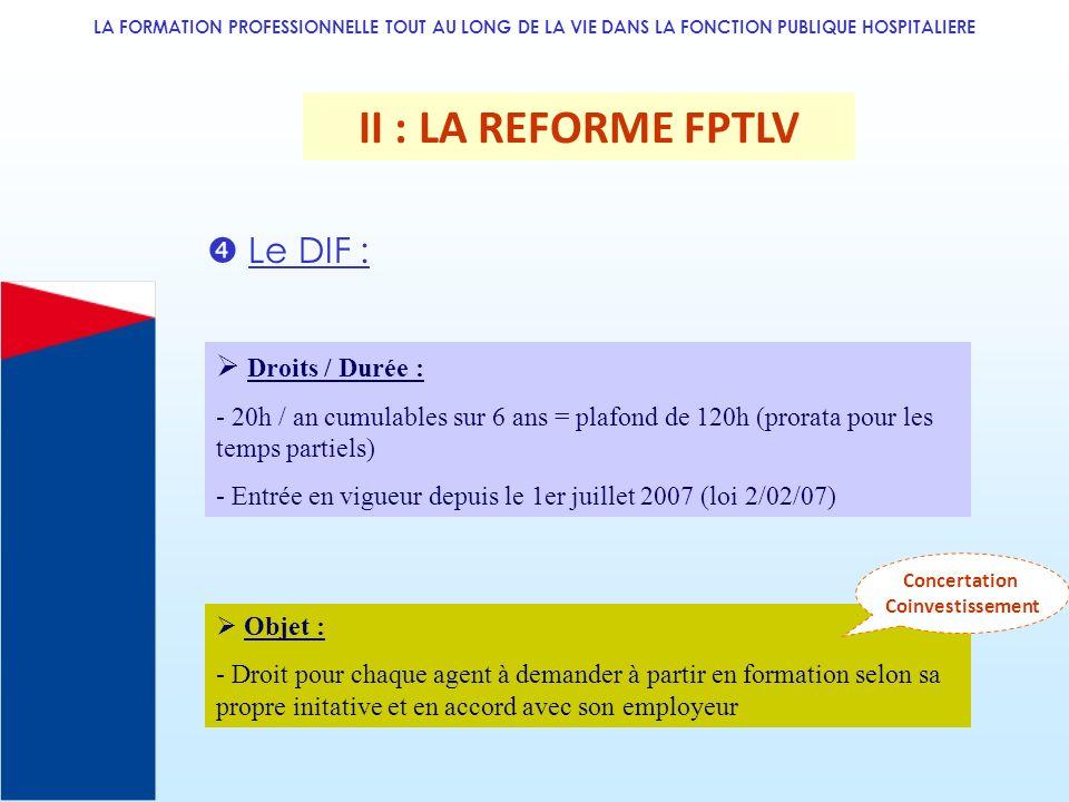 LA FORMATION PROFESSIONNELLE TOUT AU LONG DE LA VIE DANS LA FONCTION PUBLIQUE HOSPITALIERE II : LA REFORME FPTLV Le DIF : Droits / Durée : - 20h / an