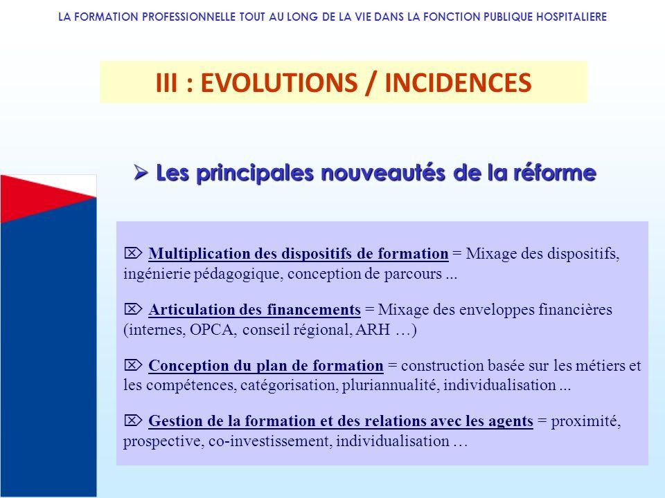 LA FORMATION PROFESSIONNELLE TOUT AU LONG DE LA VIE DANS LA FONCTION PUBLIQUE HOSPITALIERE III : EVOLUTIONS / INCIDENCES Multiplication des dispositif