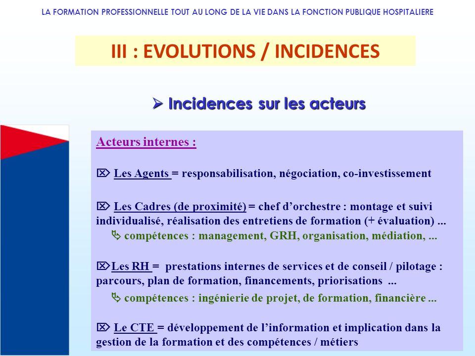 LA FORMATION PROFESSIONNELLE TOUT AU LONG DE LA VIE DANS LA FONCTION PUBLIQUE HOSPITALIERE III : EVOLUTIONS / INCIDENCES Acteurs internes : Les Agents