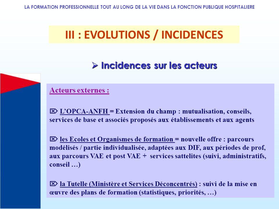 LA FORMATION PROFESSIONNELLE TOUT AU LONG DE LA VIE DANS LA FONCTION PUBLIQUE HOSPITALIERE III : EVOLUTIONS / INCIDENCES Acteurs externes : LOPCA-ANFH