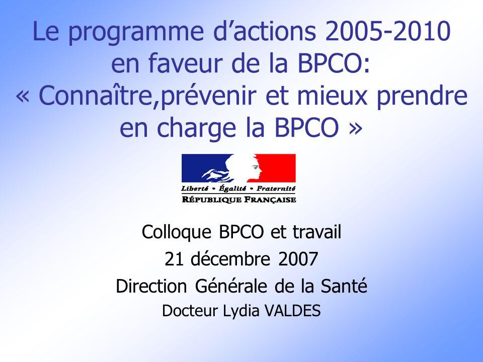 Le programme dactions 2005-2010 en faveur de la BPCO: « Connaître,prévenir et mieux prendre en charge la BPCO » Colloque BPCO et travail 21 décembre 2