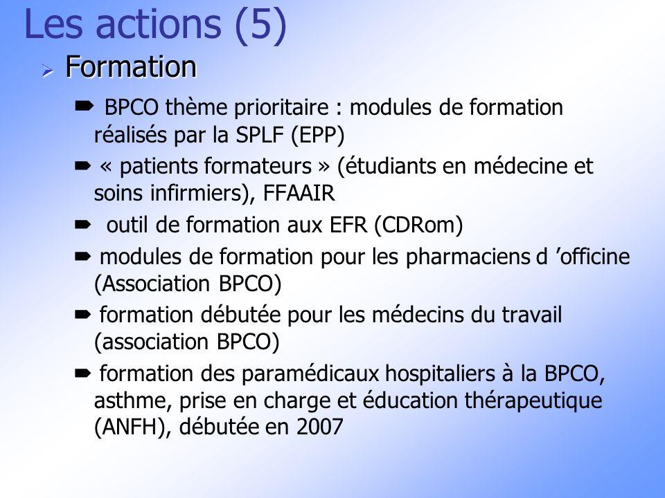 Les actions (5) Formation Formation BPCO thème prioritaire : modules de formation réalisés par la SPLF (EPP) « patients formateurs » (étudiants en méd
