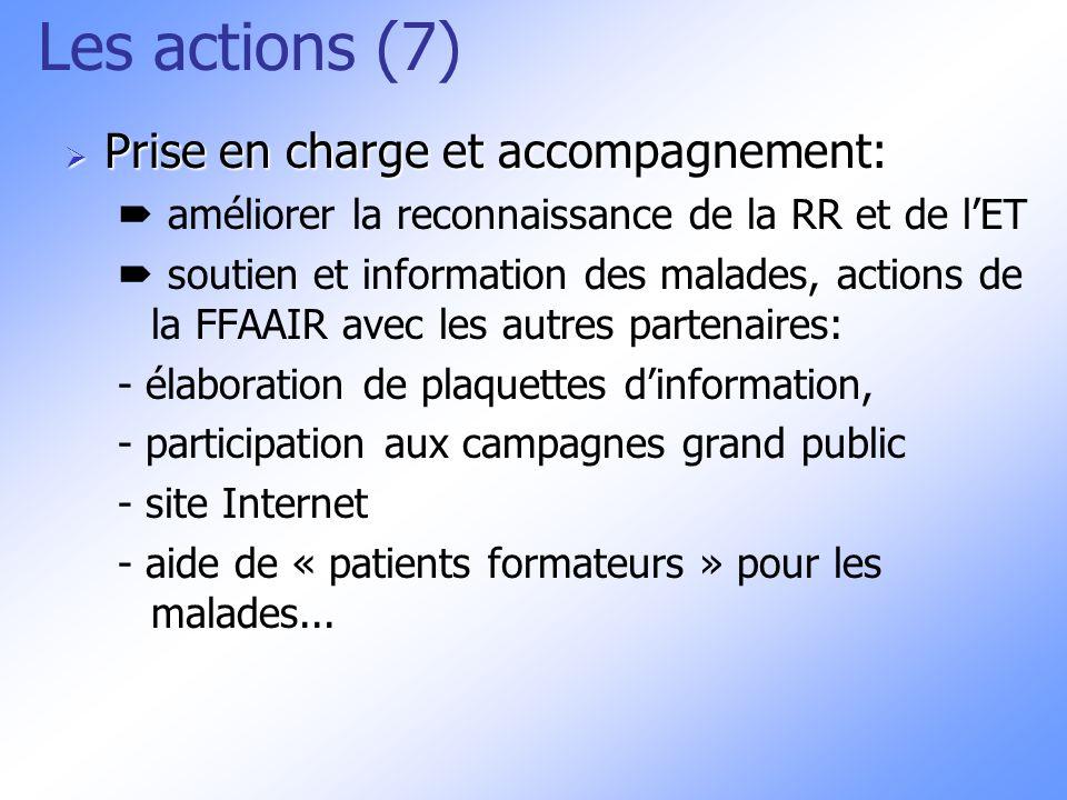 Les actions (7) Prise en charge et accompagnement: Prise en charge et accompagnement: améliorer la reconnaissance de la RR et de lET soutien et inform