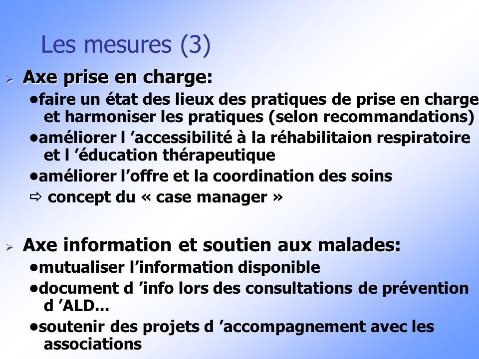 Les mesures (3) Axe prise en charge Axe prise en charge: faire un état des lieux des pratiques de prise en charge et harmoniser les pratiques (selon r