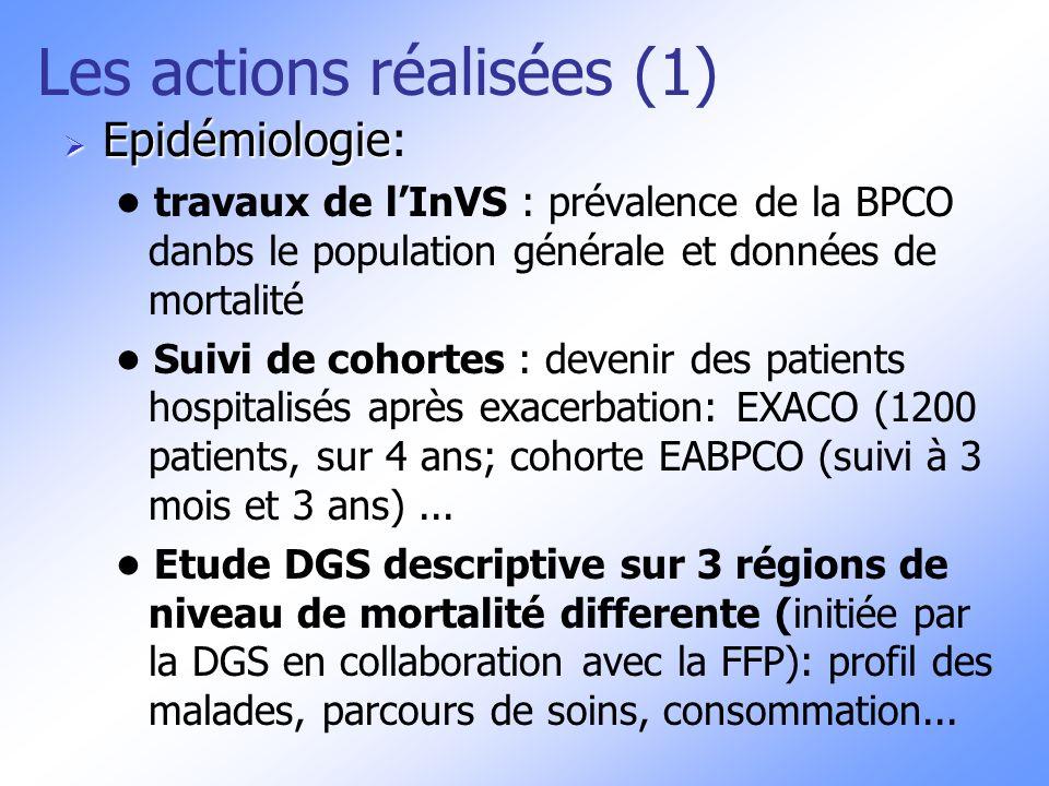 Les actions (2) Recherche: Recherche: Projet en cours de mise en place dune Fondation pour la recherche en partenariat avec la FFA Thème de la BPCO intégrée dans appel à projet de l ANR 2008: « du gène à la physio- pathologie, des maladies rares aux maladies communes communes » Thème « maladies respiratoires » intégré dans les 6e PCRD Europe et poursuvi pour le 7e programme débutant en 2008
