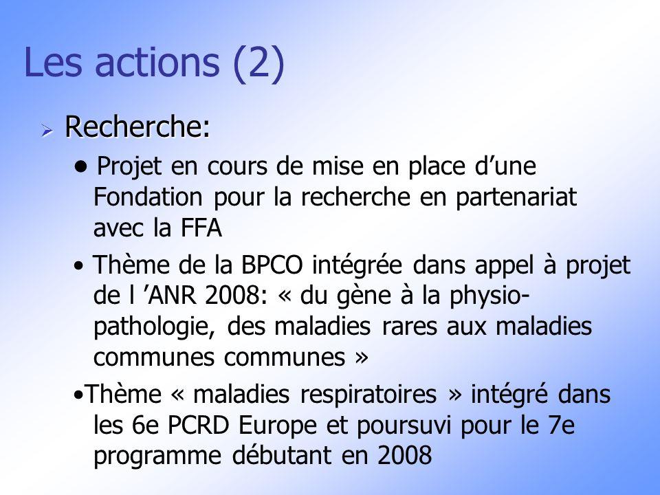 Les actions (2) Recherche: Recherche: Projet en cours de mise en place dune Fondation pour la recherche en partenariat avec la FFA Thème de la BPCO in
