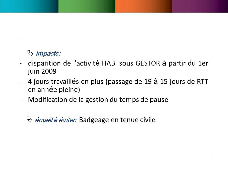 impacts: -disparition de l activit é HABI sous GESTOR à partir du 1er juin 2009 -4 jours travaill é s en plus (passage de 19 à 15 jours de RTT en ann é e pleine) -Modification de la gestion du temps de pause écueil à éviter: Badgeage en tenue civile