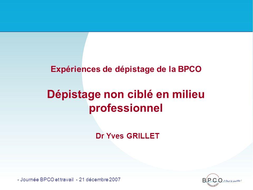 Expériences de dépistage de la BPCO Dépistage non ciblé en milieu professionnel Dr Yves GRILLET - Journée BPCO et travail - 21 décembre 2007