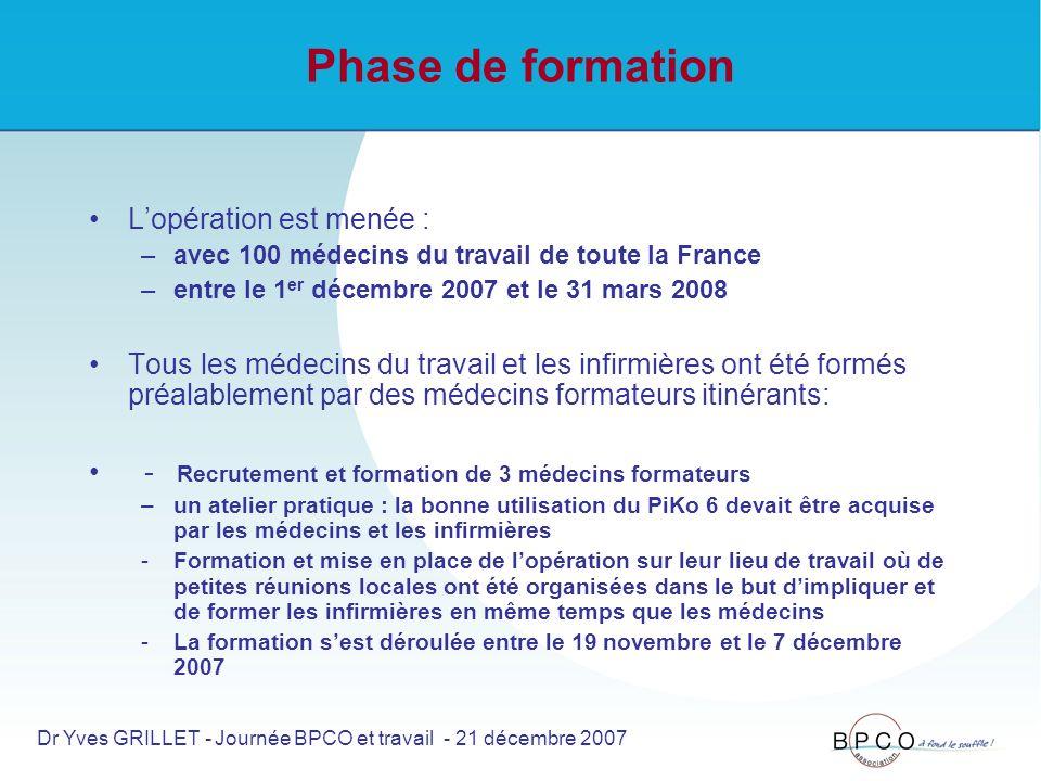 Phase de formation Lopération est menée : –avec 100 médecins du travail de toute la France –entre le 1 er décembre 2007 et le 31 mars 2008 Tous les médecins du travail et les infirmières ont été formés préalablement par des médecins formateurs itinérants: - Recrutement et formation de 3 médecins formateurs –un atelier pratique : la bonne utilisation du PiKo 6 devait être acquise par les médecins et les infirmières -Formation et mise en place de lopération sur leur lieu de travail où de petites réunions locales ont été organisées dans le but dimpliquer et de former les infirmières en même temps que les médecins -La formation sest déroulée entre le 19 novembre et le 7 décembre 2007 Dr Yves GRILLET - Journée BPCO et travail - 21 décembre 2007