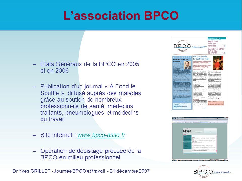 Lassociation BPCO –Etats Généraux de la BPCO en 2005 et en 2006 –Publication dun journal « A Fond le Souffle », diffusé auprès des malades grâce au soutien de nombreux professionnels de santé, médecins traitants, pneumologues et médecins du travail –Site internet : www.bpco-asso.frwww.bpco-asso.fr –Opération de dépistage précoce de la BPCO en milieu professionnel Dr Yves GRILLET - Journée BPCO et travail - 21 décembre 2007