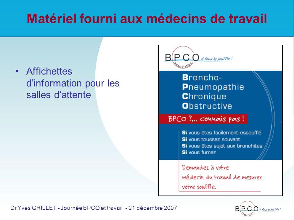 Matériel fourni aux médecins de travail Affichettes dinformation pour les salles dattente Dr Yves GRILLET - Journée BPCO et travail - 21 décembre 2007