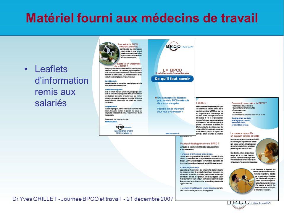 Matériel fourni aux médecins de travail Leaflets dinformation remis aux salariés Dr Yves GRILLET - Journée BPCO et travail - 21 décembre 2007