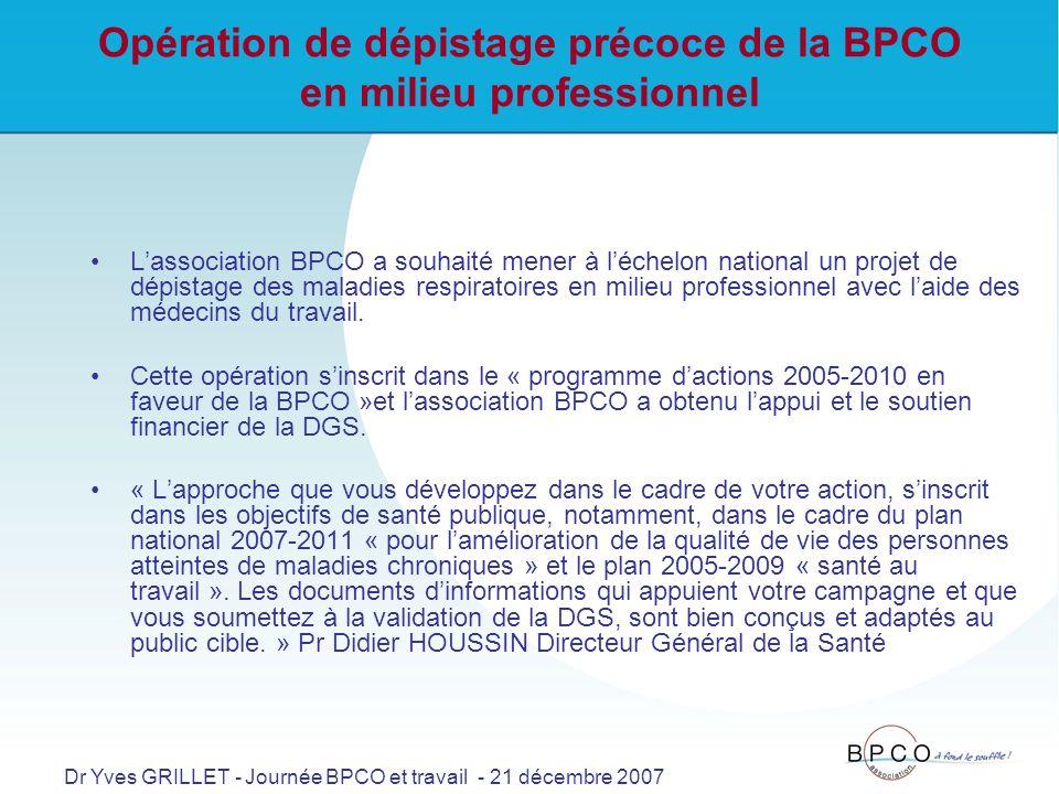 Opération de dépistage précoce de la BPCO en milieu professionnel Lassociation BPCO a souhaité mener à léchelon national un projet de dépistage des maladies respiratoires en milieu professionnel avec laide des médecins du travail.