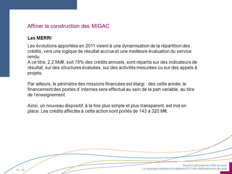 Direction générale de loffre de soins La campagne tarifaire et budgétaire 2011 des établissements de santé 12 / 18 Les MERRI Les évolutions apportées