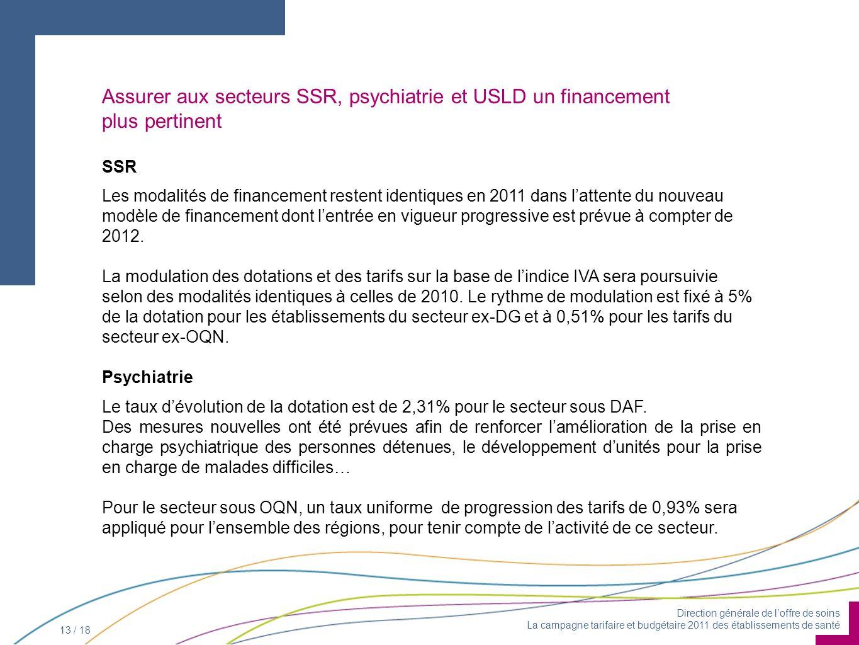 Direction générale de loffre de soins La campagne tarifaire et budgétaire 2011 des établissements de santé 13 / 18 Assurer aux secteurs SSR, psychiatr