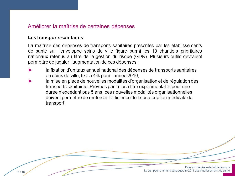 Direction générale de loffre de soins La campagne tarifaire et budgétaire 2011 des établissements de santé 15 / 18 Améliorer la maîtrise de certaines