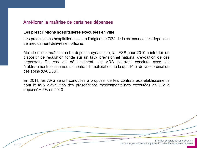 Direction générale de loffre de soins La campagne tarifaire et budgétaire 2011 des établissements de santé 16 / 18 Améliorer la maîtrise de certaines