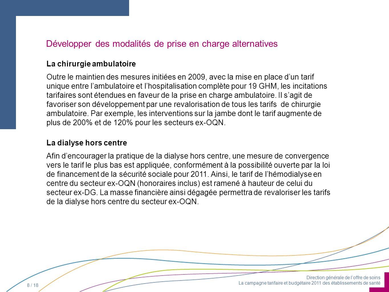 Direction générale de loffre de soins La campagne tarifaire et budgétaire 2011 des établissements de santé 8 / 18 La chirurgie ambulatoire Outre le ma