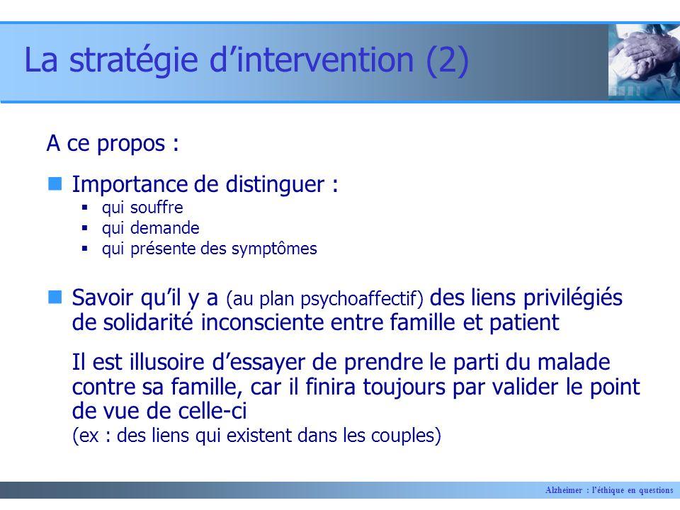 Alzheimer : léthique en questions A ce propos : Importance de distinguer : qui souffre qui demande qui présente des symptômes Savoir quil y a (au plan